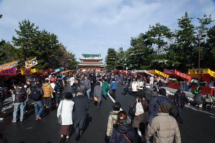Street Fair streets near the shrine were closed to traffic -- Kyoto, Japan -- Copyright 2011 Jeffrey Friedl, http://regex.info/blog/