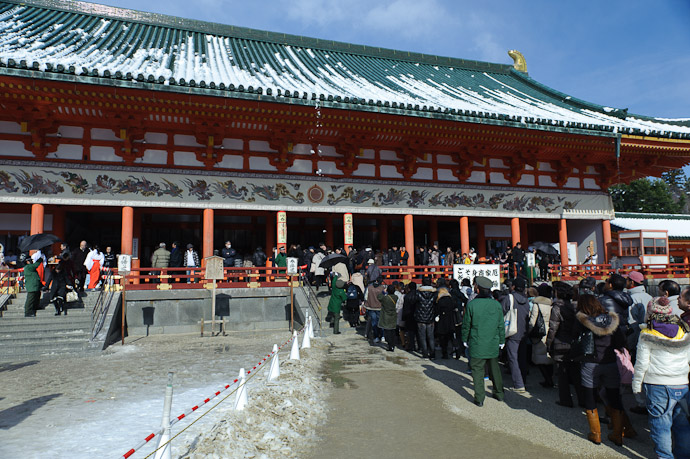 Wide View with a line of wet slush starting to fall center frame -- Heian Shrine -- Kyoto, Japan -- Copyright 2011 Jeffrey Friedl, http://regex.info/blog/