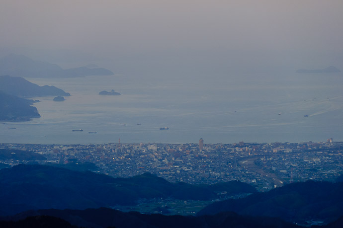 Imabari City 12 miles away -- Mt. Takanawa (高縄山) -- Matsuyama, Ehime, Japan -- Copyright 2011 Jeffrey Friedl, http://regex.info/blog/