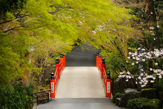 desktop background image of entrance bridge to the Imakumano Kannonji Temple (今熊野観音寺) in Kyoto, Japan -- Path To the Imakumano Kannonji Temple (今熊野観音寺) Kyoto Japan, Spring 2011 -- Imakumano Kannonji Temple (今熊野観音寺) -- Copyright 2011 Jeffrey Friedl, http://regex.info/blog/