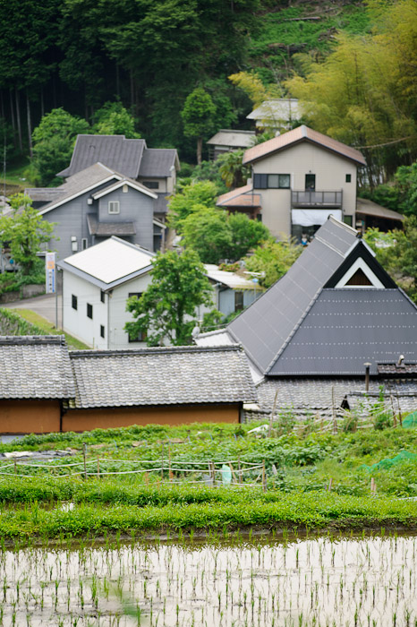 Quintessential Hamlet old house · modern house · garden · rice paddy -- Uji, Kyoto, Japan -- Copyright 2011 Jeffrey Friedl, http://regex.info/blog/