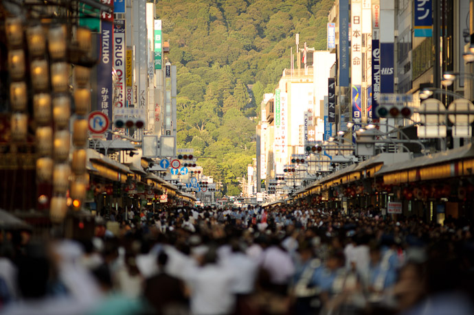 Looking East Down Shijo Street from Karasuma, toward the Yasaka Shrine at the foot of the mountain -- Gion Matsuri (祇園祭) -- Kyoto, Japan -- Copyright 2011 Jeffrey Friedl, http://regex.info/blog/