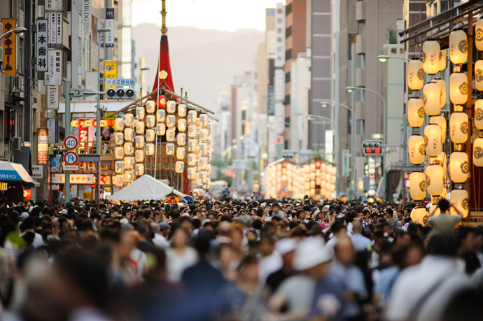 Looking West  --  Gion Matsuri (祇園祭)  --  Kyoto, Japan  --  Copyright 2011 Jeffrey Friedl, http://regex.info/blog/  --  This photo is licensed to the public under the Creative Commons Attribution-NonCommercial 3.0 Unported License http://creativecommons.org/licenses/by-nc/3.0/ (non-commercial use is freely allowed if proper attribution is given, including a link back to this page on http://regex.info/ when used online)