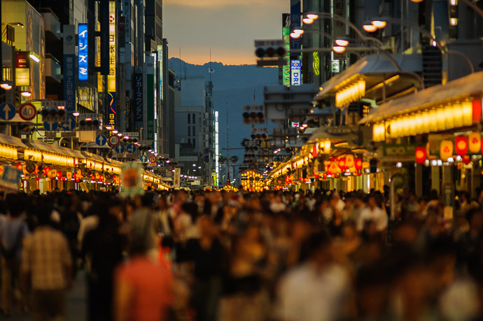 Looking West half an hour later  --  Gion Matsuri (祇園祭)  --  Kyoto, Japan  --  Copyright 2011 Jeffrey Friedl, http://regex.info/blog/  --  This photo is licensed to the public under the Creative Commons Attribution-NonCommercial 3.0 Unported License http://creativecommons.org/licenses/by-nc/3.0/ (non-commercial use is freely allowed if proper attribution is given, including a link back to this page on http://regex.info/ when used online)