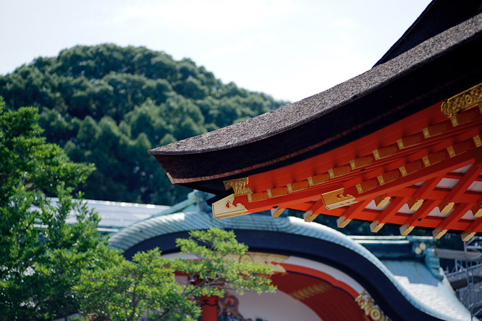 Random Shrine Roof I'm a sucker for traditional roofs (I prefer these kind to temple roofs ) -- Fushimi-Inari Taisha (伏見稲荷大社) -- Kyoto, Japan -- Copyright 2011 Jeffrey Friedl, http://regex.info/blog/