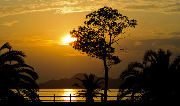 a sunset in the Seto Inland Sea, near Hiroshima Japan