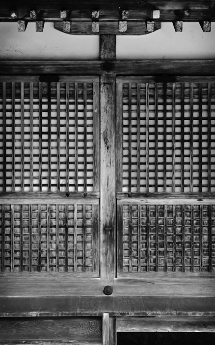 the sliding screen doors of a minor outlying building of the Jingoji Temple (神護寺), Kyoto Japan