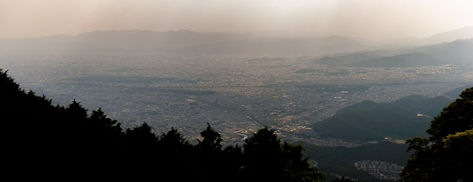 Hazy View of Northern Kyoto from between Eizan's Ropeway and Cable Car  --  Mt. Hiei (比叡山)  --  Kyoto, Japan  --  Copyright 2012 Jeffrey Friedl, http://regex.info/blog/