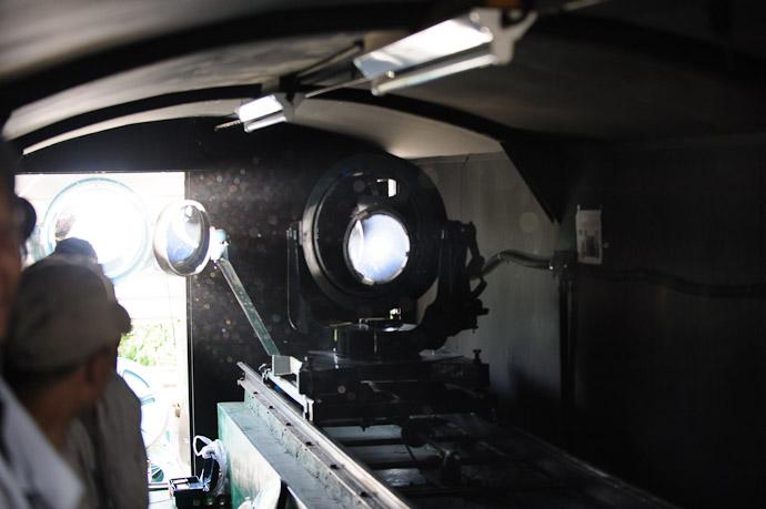 Inside the Solar Telescope  --  Kyoto University Kwasan Observatory (京都大学 花山天文台)  --  Kyoto, Japan  --  Copyright 2012 Jeffrey Friedl, http://regex.info/blog/