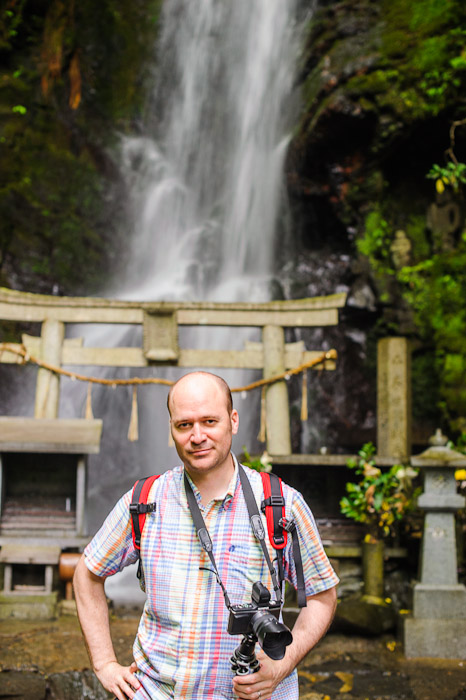 Nicolas Joannin looking relatively sharp at 1/20th of a second  --  Kuuya-taki Waterfall (空也滝)  --  Kyoto, Japan  --  Copyright 2012 Jeffrey Friedl, http://regex.info/blog/