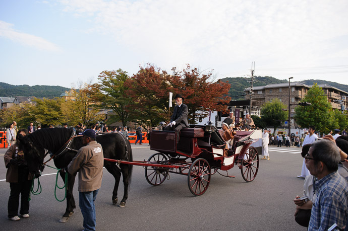 Their Ride  --  Jidai Matsuri ()  --  Kyoto, Japan  --  Copyright 2012 Jeffrey Friedl, http://regex.info/blog/  --  This photo is licensed to the public under the Creative Commons Attribution-NonCommercial 3.0 Unported License http://creativecommons.org/licenses/by-nc/3.0/ (non-commercial use is freely allowed if proper attribution is given, including a link back to this page on http://regex.info/ when used online)