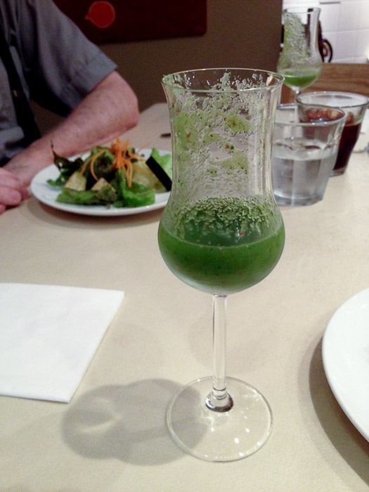 Oddly Refreshing Blend of apple, orange, and komatsuna ( a spinach -like veggie)  --  Restaurant Normandie (ノルマンディ)  --  Kyoto, Japan