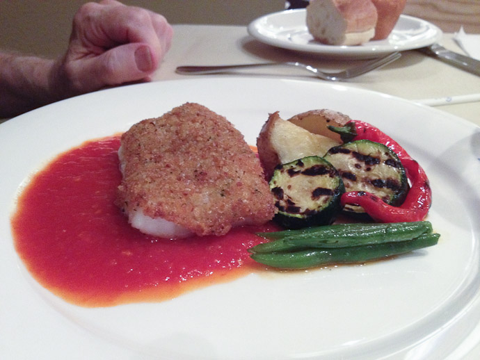 "Breaded Suzuki ""Japanese sea bass"" with tomato sauce  --  Restaurant Normandie (ノルマンディ)  --  Kyoto, Japan"