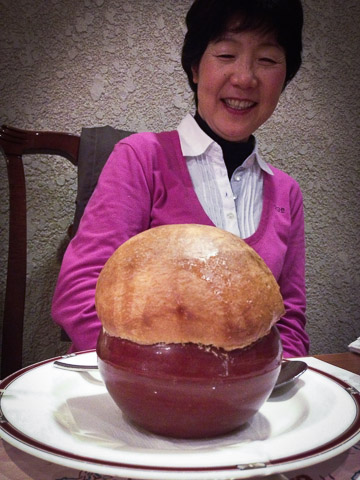 Wow my mother-in-law registers surprise at the size -- Restaurant Kiev -- Kyoto, Japan
