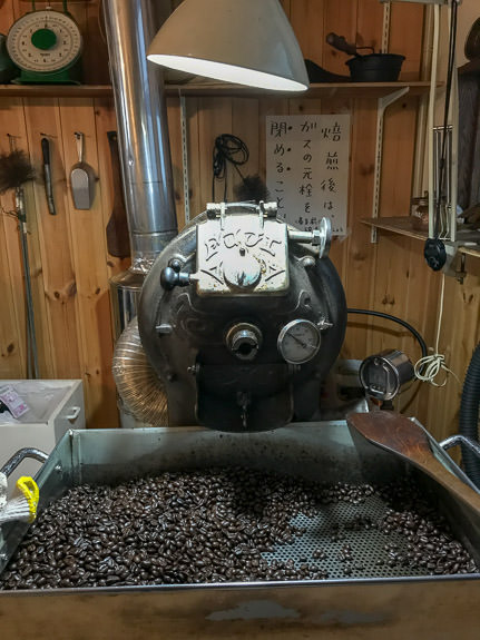 The Roaster -- Kafe Kosen (KAFE工船) -- Kyoto, Japan -- Copyright 2018 Jeffrey Friedl, http://regex.info/blog/ -- This photo is licensed to the public under the Creative Commons Attribution-NonCommercial 4.0 International License http://creativecommons.org/licenses/by-nc/4.0/ (non-commercial use is freely allowed if proper attribution is given, including a link back to this page on http://regex.info/ when used online)