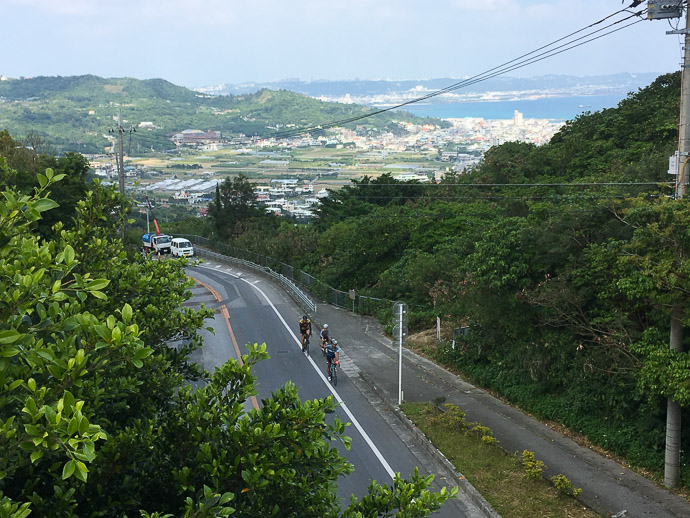 Nearing the Top of the biggest climb of the day (1.2km @ 9%) photo by Jason Eisenmenger -- Nanjo, Okinawa, Japan -- Copyright 2018 Jeffrey Friedl, http://regex.info/blog/