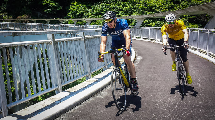 "Fake "" Action Shot "" at Hiyoshi Dam (日吉ダム), Hiyoshi Japan from this ride in June with Gorm and Manseki photo by Manseki Kanemitsu -- Hiyoshi Dam (日吉ダム) -- Nantan, Kyoto, Japan -- Copyright 2016 Manseki Kanemitsu"