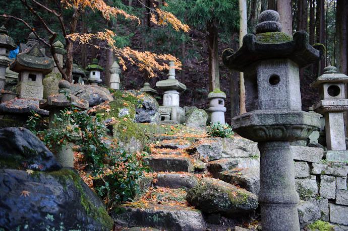 n1392() -- Nishimura Stone Lanterns -- Kyoto, Japan -- Copyright 2009 Paul Barr