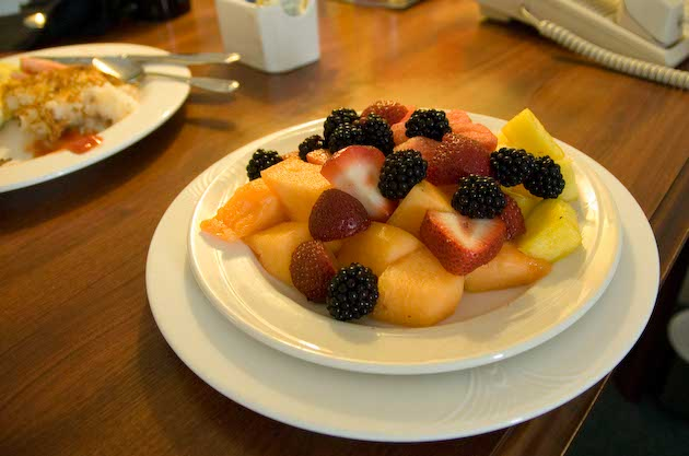 A tasty fruit plate, a bright spot at an otherwise dumpy        Sheraton Suites hotel, Cuyahoga Falls, Ohio