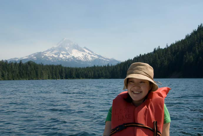 Fumie on Lost Lake, with Mt. Hood in the background