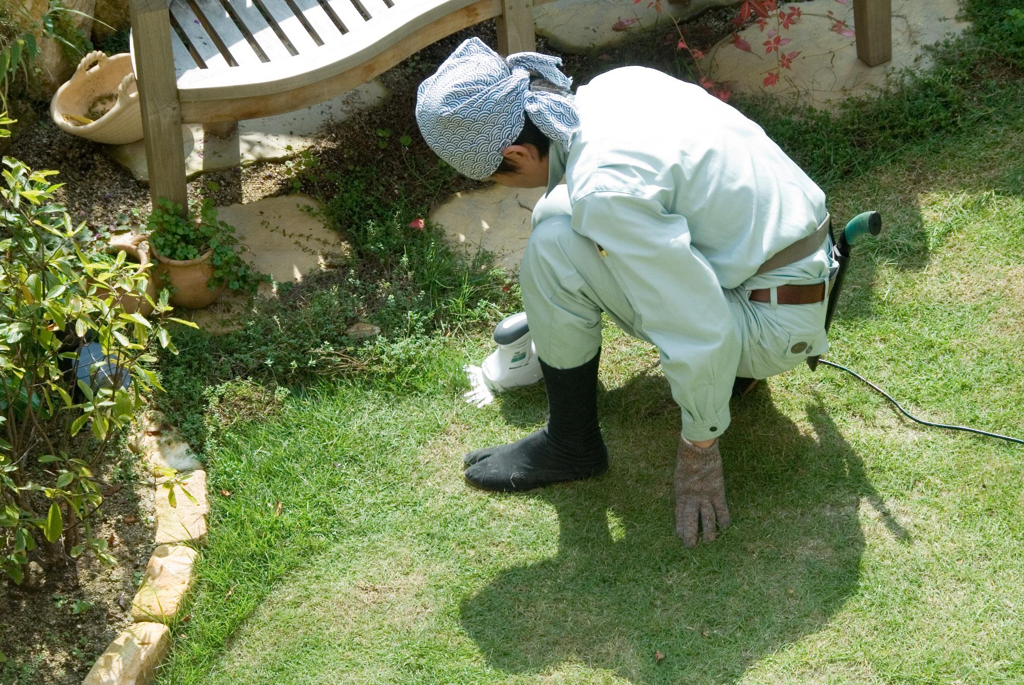 Japanese Gardener #5: Japanese Lawn Mower -- Kyoto, Japan -- Copyright 2006 Jeffrey Eric Francis  Friedl