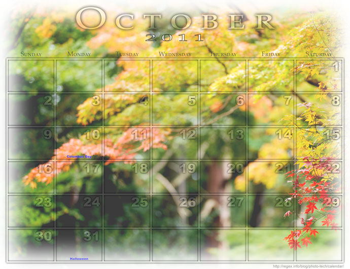Calendar page created with Jeffrey's Photoshop Calendar-Template-Building Script