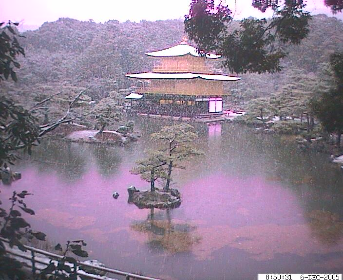 Snow at Kinkakuji, Kyoto Japan, via webcam