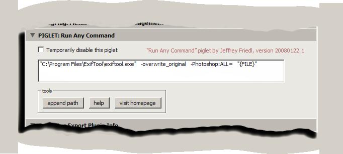 "Jeffrey Friedl's Blog » Lightroom 1 ""Run Any Command"" Piglet"