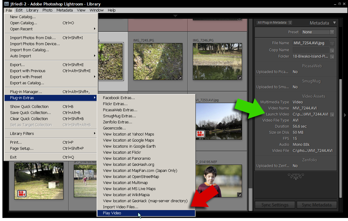 Jeffrey friedls blog jeffreys video asset management lightroom the play video plugin extras menu item marked with the red arrow launches the video in a very simple player mplayer included with the plugin ccuart Images