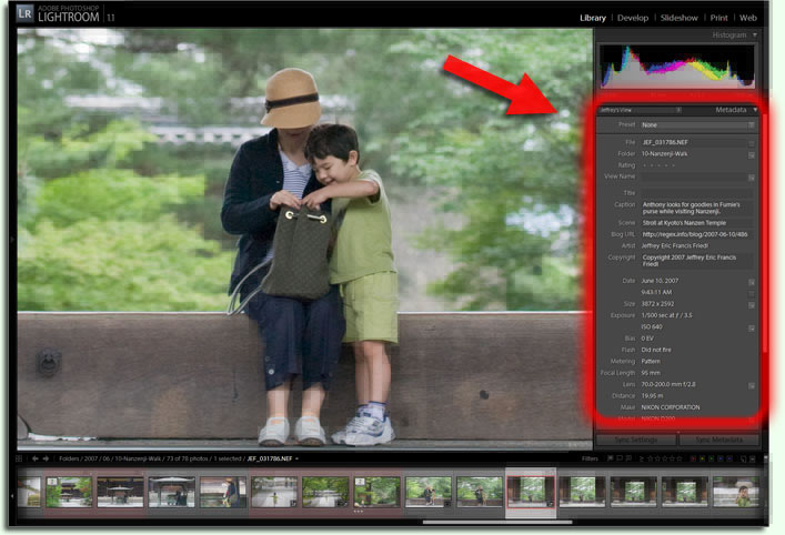 Metadata Viewer in Adobe Lightroom 1.1