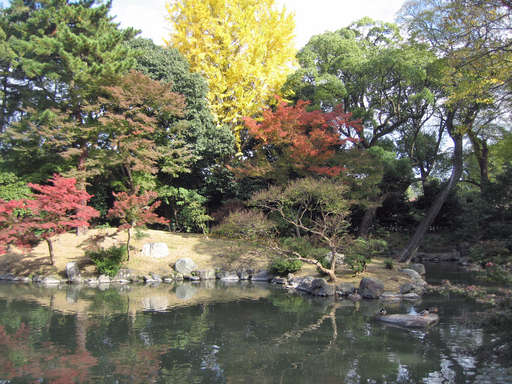 View toward the east from the bridge over the lake in the southern part of the old imperial palace grounds, Kyoto Japan