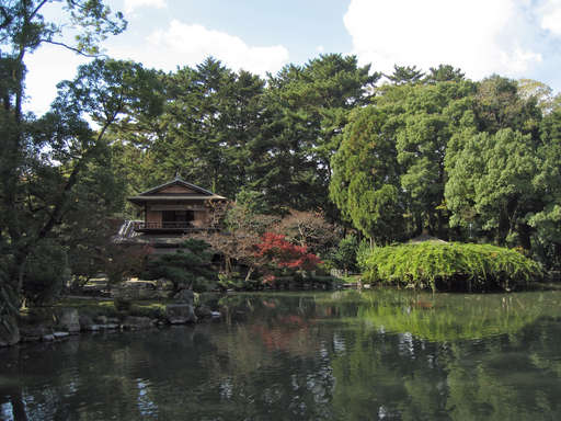 View toward the west from the bridge over the lake in the southern part of the old imperial palace grounds, Kyoto Japan