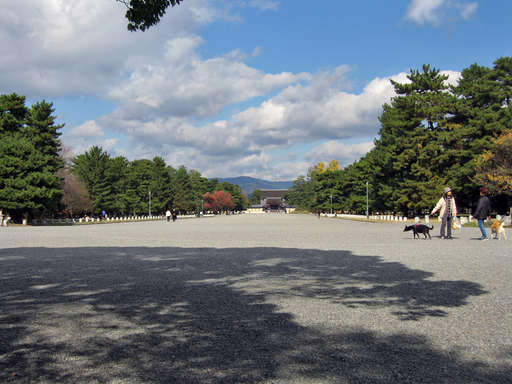 Wide avenue leading north to the old imperial palace, Kyoto Japan