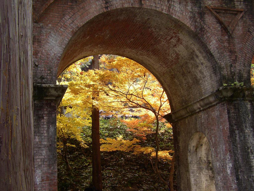 Fall foliage behind the aquaduct bridge at the Nanzenji Temple, Kyoto Japan