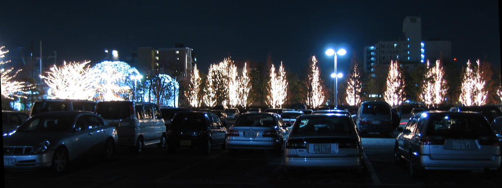 View of Rohm's Kyoto 'Illumination 2005' from their parking lot