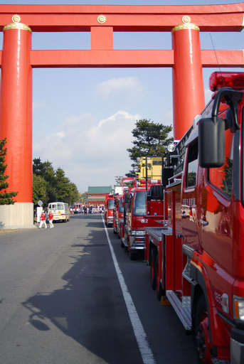 Fire trucks at the Heian Shrine for the 2006 Kyoto Fire Department's New Year Exhebition, Kyoto Japan